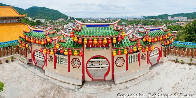 Panoramic Photo of the View over George Town from Kek Lok Si Temple, Penang, Malaysia